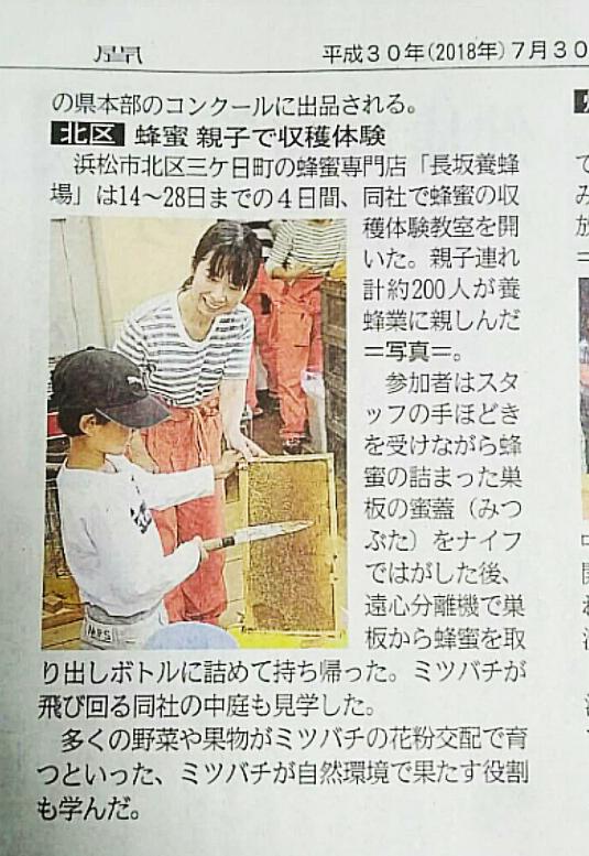 「採蜜体験教室」開催静岡新聞
