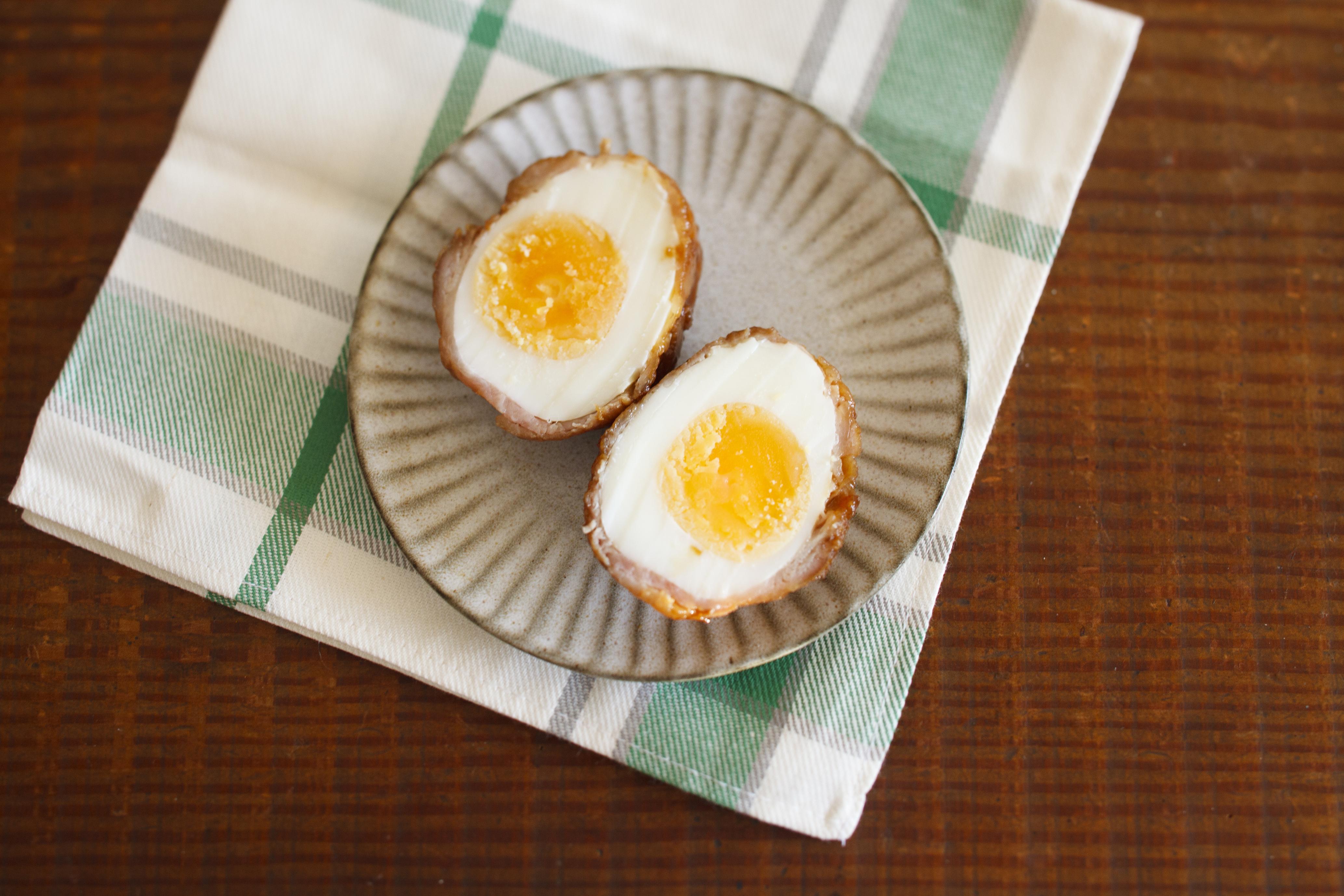 甘辛味の肉巻きゆで卵